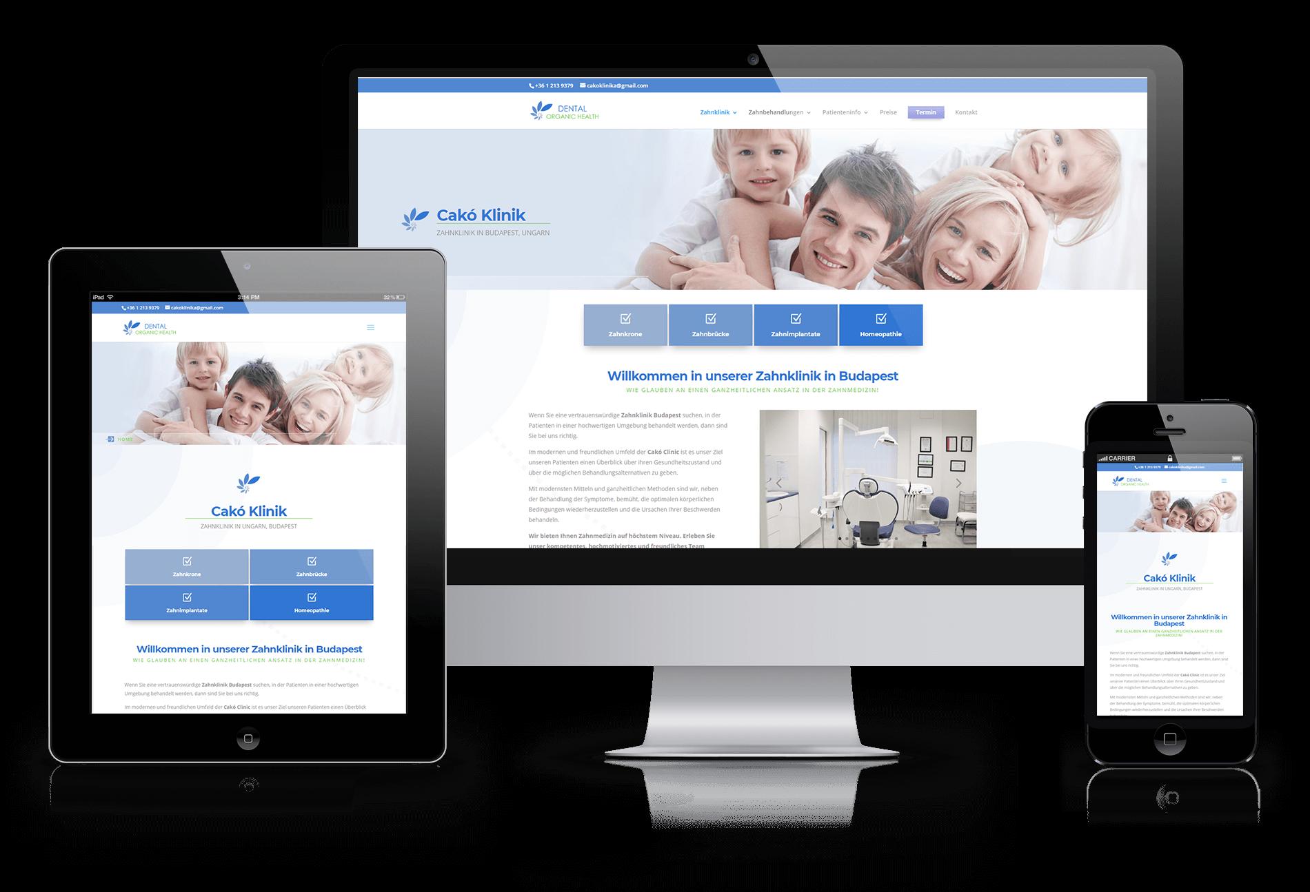 Cakó Klinika weboldal