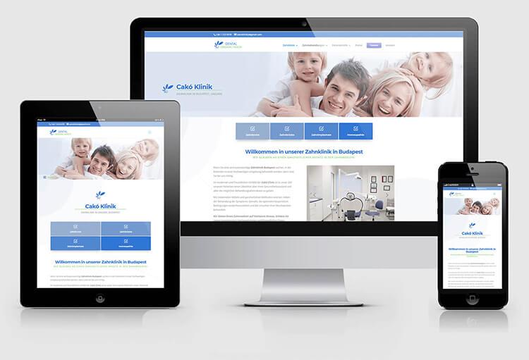 Cakó Klinika többnyelvű weboldala